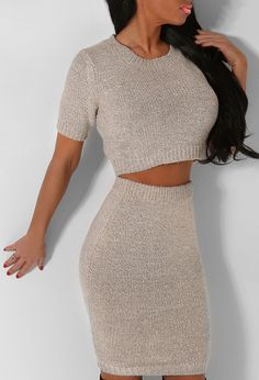 How LUSH is this knitted two piece set? In a super cute oatmeal knitted fabric, this crop top and high waisted skirt set looks perf with over the knee boots. Two Piece Sets, Two Piece Skirt Set, Online Dress Shopping, Knitted Fabric, Over The Knee Boots, Dresses Online, Oatmeal, High Waisted Skirt