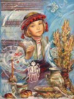Art Ukraine added a new photo. Russian Folk Art, Ukrainian Art, Ukrainian Christmas, Guache, Naive Art, Children's Book Illustration, Whimsical Art, Beautiful Paintings, Ukraine
