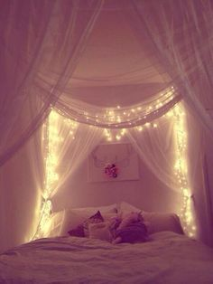 Twinkle lights by the bed. & DIY Bed Canopy with Lights | DIY Hanging Bed Canopy - Using $5 ...