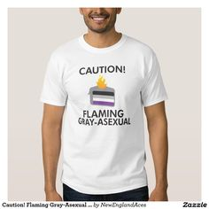 Caution! Flaming Gray-Asexual T-Shirt (Light)