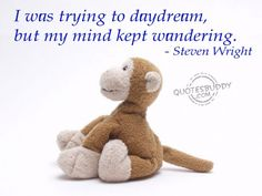 I was trying to daydream, but my mind kept wandering-Steven Wright Relax Quotes, Me Quotes, Relaxation Quotes, Thoughts Of You, Deep Thoughts, Daydreaming Quotes, Steven Wright, Keep Dreaming, Thanks For The Memories