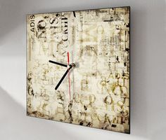 Wall clock unique in vintage style square 12x12 by RemakeProject, €28.00