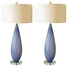 Vintage Murano Lamps in Deep Lavender Opaline   From a unique collection of antique and modern table lamps at https://www.1stdibs.com/furniture/lighting/table-lamps/