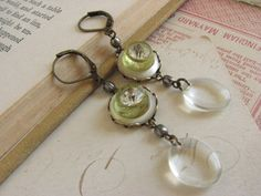 Shabby Chic Vintage Button Earrings repurpsed by whybecause, $24.50
