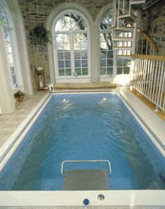 Endless Pool   Creates a current to swim against.  pretty small so easy to fit in indoors or out.  too bad it wont fit in the RV I want