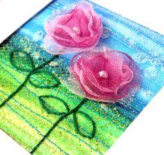 Handmade card  pink organza flowers   fabric card  by StitchMikki, $6.00