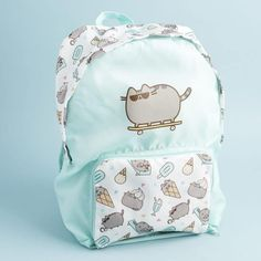 It folds into itself to condense into a small pouch for easy travel! It's made of a thin minty nylon, which means it's fast drying if you get it wet at the pool or beach. The straps also have a cute summer treat pattern, like the sides and top. Unicorn Day, Pusheen Backpack, Cute School Supplies, Convertible Backpack, Cute Backpacks, Cat Treats, Rilakkuma, Cute Bags, Aqua Blue