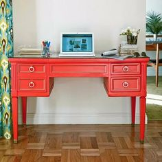 Refinish desk.  omg. I'm doing this right now! Same color and all!