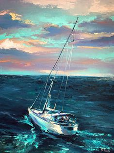Sailing art by BozhenaFuchs on DeviantArt Sailboat Art, Sailboat Painting, Seascape Paintings, Oil Painting Abstract, Painting Canvas, Texture Painting, Canvas Art, Landscape Art, Landscape Paintings