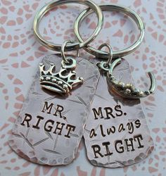 Mr and Mrs Right Keychain  Couples Wedding by DesertRainJewelry, $27.00