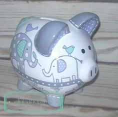 SMALL artisan hand painted ceramic personalized piggy bank ~Taylor Elephant mint lavender grey and white theme genevieve inspired