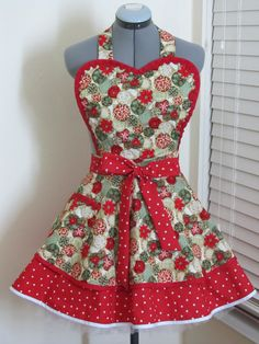 Heart Shaped Christmas Pin Up Apron Ready to by AquamarCouture, $49.99