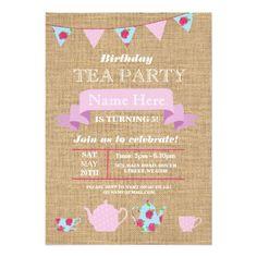 Tea Party Teapot Alice In Wonderland Burlap Invite