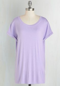 Simplicity on a Saturday Top in Lavender. Whoever said jeans and a tee couldnt look completely cute has clearly never encountered a gal wearing this lavender T-shirt! #purple #modcloth