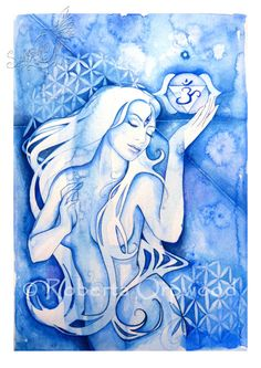 Visionary Third Eye Chakra Goddess /  'Ajna' / Indigo blue Goddess / Wall Art ~ Art Print from original artwork by Roberta Orpwood