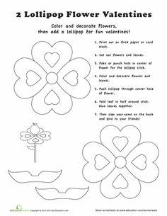 Worksheets: Lollipop Valentine Card