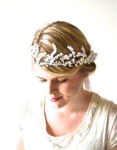 Wedding Tiara Bridal Crown White Bridal Hair by hazelfaire on Etsy, $50.00 I love, love love Hazelfaire with all my heart!