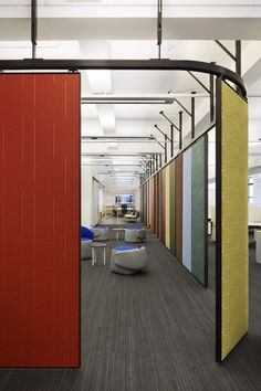 LTL Architects has designed the offices of wallcovering, upholstery, and textile company Wolf-Gordon, located in Manhattan, New York. The design for the Corporate Office Design, Office Space Design, Corporate Interiors, Workplace Design, Office Interiors, Corporate Offices, Movable Partition, Movable Walls, Office Dividers