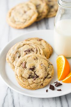 Orange, Chocolate Chunk and Sea Salt Cookies | Cooking Classy JD: could do without the orange extract but could be a perfect basic cc cookie (maybe more vanilla/salt).