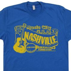 Nashville T Shirt Country Music vintage soft retro T Shirts design Banjo vols Folk Bluegrass Tennessee vintage Tee by Shirtmandude on Etsy https://www.etsy.com/listing/150935828/nashville-t-shirt-country-music-vintage