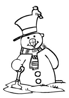 Free Online Snowman Colouring Page