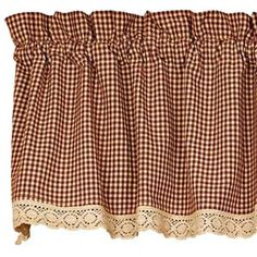 new primitive country gingham burgundy tan check lacetrim curtain window valance country curtainsdiy curtainskitchen - Country Kitchen Curtains Ideas