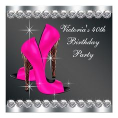 Woman's Hot Pink Zebra 40th Birthday Party Custom Announcements