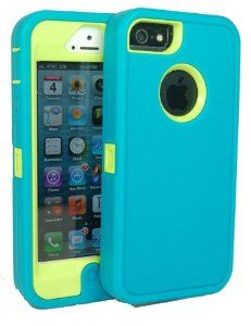 Iphone 5 Defender Body Armor Case Teal on Punk Green Comparable to Otterbox Defender Series   Save the Ta Tas Silicone Bracelet and Cube Charger