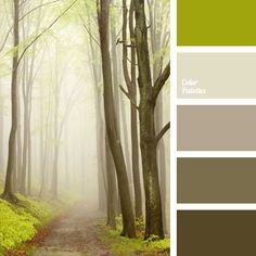 The combination of warm shades of brown and gray with olive green make up this forest palette. This color solution can be used in the exterior of a country house or a cottage, as well as a balcony or loggia of a city apartment.