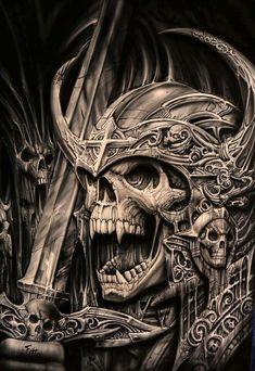 angry skull warrior more skulls skeletons art tattoo skull s skull art ...