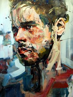 The portrait extends into the simpler background and the background pops out at the viewer.  By Andrew Salgado