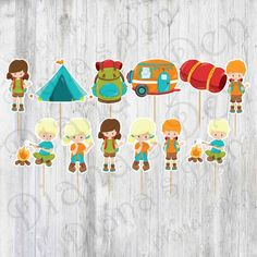 Camping Cupcake Toppers/Camping Toppers/ Camping Party/Boy Party/Girl Party by DianasDen on Etsy