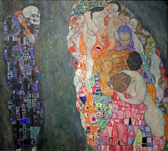 """Gustav Klimt. Death and Life, created in 1910, features not a personal death but rather merely an allegorical Grim Reaper who gazes at """"life"""" with a malicious grin. This """"life"""" is comprised of all generations: every age group is represented, from the baby to the grandmother, in this depiction of the never-ending circle of life."""
