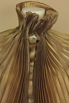 Romeo Gigli Metallic Sheer Gold Blouse with Attached Accordion Pleated Capelet image 5