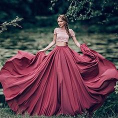 two pieces long prom gown