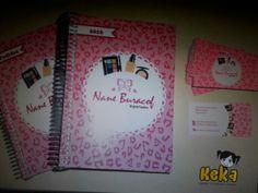 Agenda datada + agenda de pedidos + cartão de visita