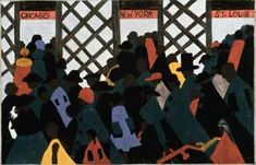 The Migration of the Negro, panel 1, 1940-41. Casein tempera on hardboard, 12 x 18 in. (30.5 x 45.7 cm). The Phillips Collection, Washington, D.C.  Artwork © Gwendolyn Knight Lawrence, courtesy of the Jacob and Gwendolyn Lawrence Foundation