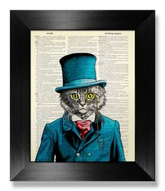 White Cat Art Print on BOOK PAGE Art, Vintage Book Art, Blue Suit Cat Wall Decal, Victorian Man Cat Poster, Gift for CAT Lover Gift Poster by MEOWconcept on Etsy https://www.etsy.com/listing/276222768/white-cat-art-print-on-book-page-art