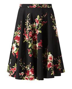 Tall Black Floral Print Skater Skirt  | New Look  I love this skirt, as it's feminine, without being too over the top. And a longer length for my tall frame. Great!
