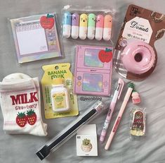 on ig 🌤 stationary ; journaling cute school supplies, school sup Stationary Supplies, Stationary School, Cute Stationary, School Stationery, Stationary Items, Korean Stationery, Kawaii Stationery, Too Cool For School, Back To School