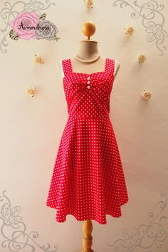 a1b199d6c654 SALE Size Small - Red Sundress Valentine Dress Vintage Summer Dress Red Polka  Dot Dress Swing Skater Dresd Retro Rockabilly Style Dress