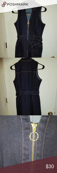 Denim Sleeveless Bodycon Dress NEVER WORN BEFORE! Sexy Bodycon golden zipper- front sleeveless denim midi belted dress. Knee length, close-fitting, low v- neck INC International Concepts Dresses Midi