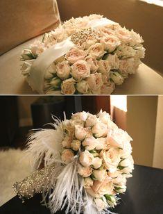 beautifil bride bridal bouquet cream white roses with feathers satin jewels rhinestone diamond flower girl wedding idea