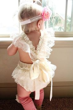 70ef46ab3f95 Vanessa Romper. Baby Girls Lovely Ruffle Lace Collar Bodysuit with Headband