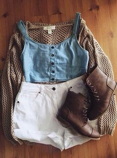 blue top, white high-waisted shorts, brown knit cardigan brown boots