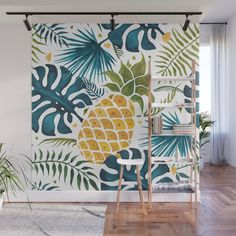 Golden pineapple on palm leaves foliage Wall Mural by thunesdesign Ocean Mural, Tropical Homes, Palm Leaf Wallpaper, Downstairs Bathroom, Fabric Panels, Basement Ideas, Home Decor Items, Second Floor, Outdoor Spaces