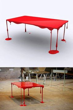 Naam: Paint or Die, But Love Me. Ontwerp: John Nouanesing. Merk: Domeau & Pérès. Deze tafel is zo ontworpen om de indruk te geven dat hij vloeibaar is.