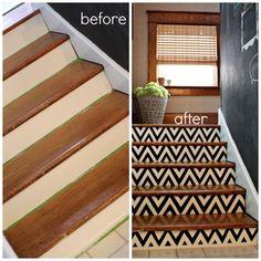 DIY Chevron Painted Stairs