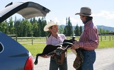 Lisa giving Jack a special saddle for a cattle drive. One month to Episode Ten-Ten - Heartland Cowboy Ranch, Cowboy Up, Mark Burnett, Roma Downey, Rare Animals, Strange Animals, Heartland Tv Show, Cattle Drive, Whitetail Bucks