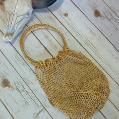 Vintage wooden bead fisherman's net purse So beautiful and well made and in amazing condition. Such a unique piece. Vintage Bags Totes